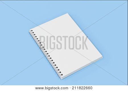 Opend Notebook Spiral Bound On Blue Background