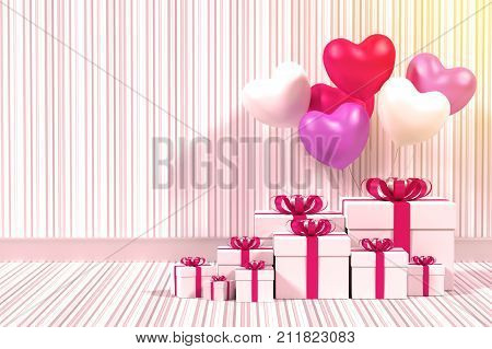A photo of White gift box with balloon heart sharp Process in vintage tone 3D renderring with blender freeware