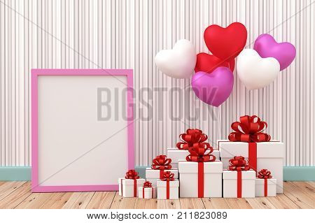 A photo of White gift box with balloon heart sharp on wood floor 3D renderring with blender freeware