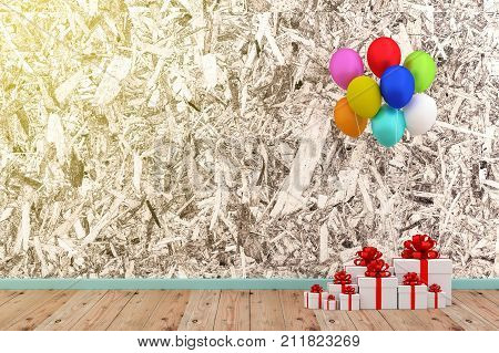 A photo of white gift box and colorful balloon with grung texture background 3D rendering with blender freeware