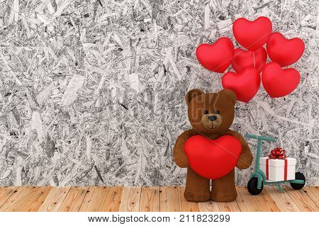 A photo of Teddy bear holding balloon heart sharp 3D Render with blender freeware