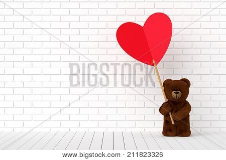 A photo of Teddy bear holding a heart-shaped red label 3D render with blender freeware