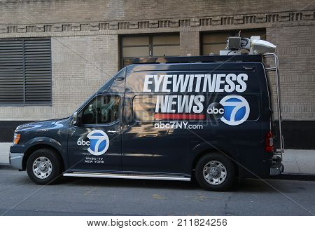NEW YORK - OCTOBER 31, 2017: WABC Channel 7 Eyewitness news van near terror attack crime scene in lower Manhattan in New York.