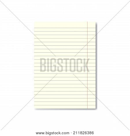 Vector realistic lined paper sheet with margins. Copybook notebook or exercise book blank page school organizer mockup or template for your text