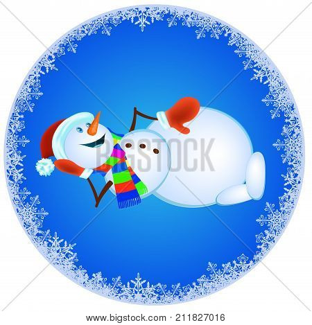 Snowman in red mittens and striped scarf on blue background - vector