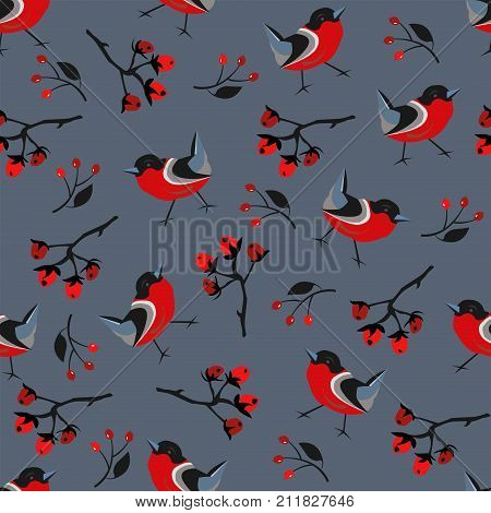 Seamless brier berry and bird pattern on dark blue. Vector Illustration