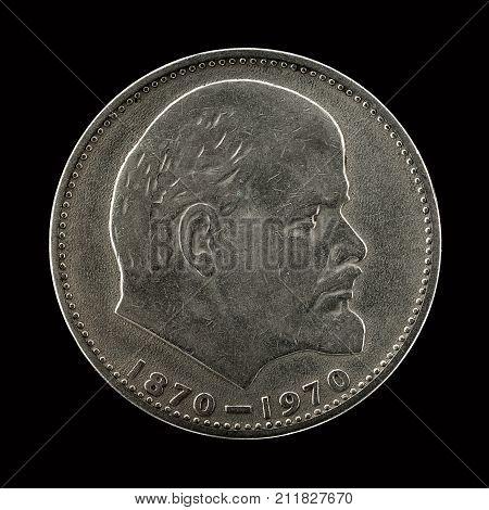 Soviet Ruble Against The Black Background