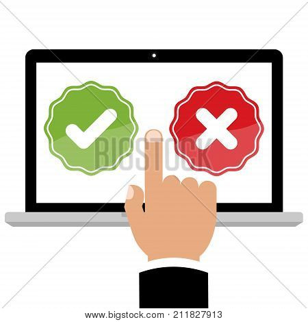 Businessman hand point to laptop computer with feedback right and wrong online survey and checklist on red background. Cartoon flat vector illustration business online network concept.