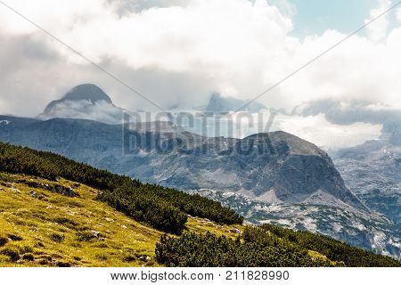 Scenic view of alps mountains a sunny day. Hoher Dachstein mountains.