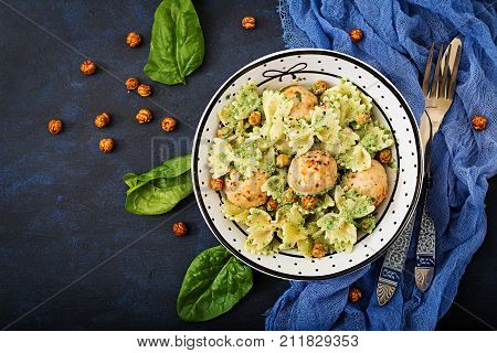 Farfalle Pasta With Meatballs And Spinach  Sauce With Fried Chickpeas. Proper Nutrition. Sports Nutr