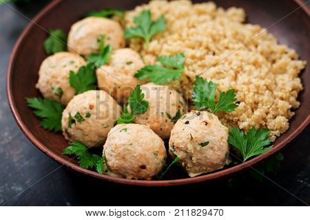 Baked Meatballs Of Chicken Fillet With Garnished With Quinoa. Flat Lay. Top View. Proper Nutrition.