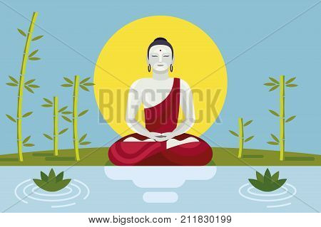 Buddha in the riber shore with lotus and bambú. Dharma Wheel Concept. The path of liberation from samsara.