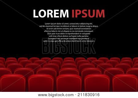 Empty movie theater auditorium with red seats. Rows of red cinema seats with black screen with sample text background. Vector illustration EPS 10.