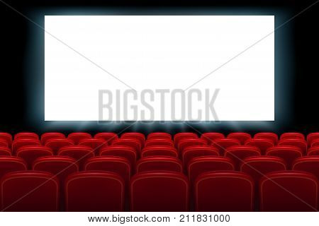 Realistic cinema hall interior with red seats. Cinema movie premiere poster design with empty white screen. Vector illustration EPS 10.