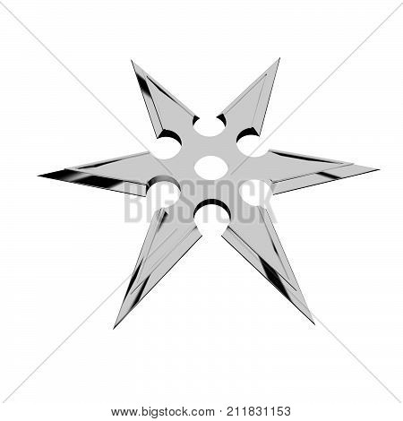 A shuriken isolated over white, 3d rendering