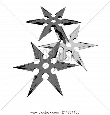 Three shuriken isolated over white, 3d rendering