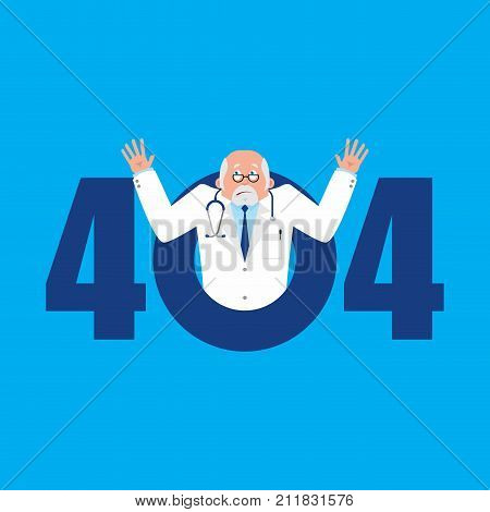 Error 404. Doctor Surprise. Page Not Found Template For Web Site. Physician  Does Not Know And Is Su