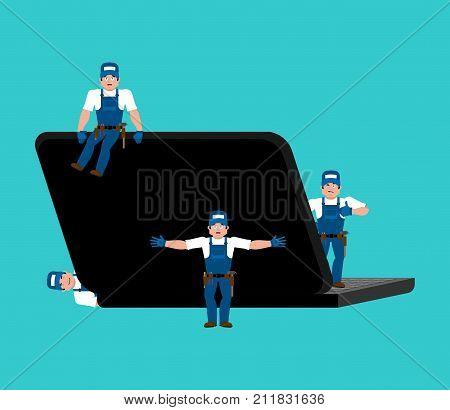 Repair And Maintenance Of Laptop. Computer Service. Repairs Team Is Repairing Pc. Vector Illustratio