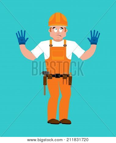 Builder Oops Guilty . Worker In Protective Helmet Culpable. Service Worker Serviceman Apologize. Vec