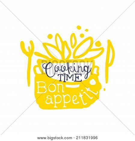 Abstract kids drawing for cooking logo design. Bon appetit time yellow emblem. Badge with saucepan, food and cutlery. Label for culinary school, food studio or home kitchen. Vector isolated on white.