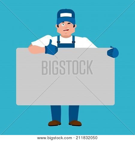 Plumber Holding Banner Blank. Fitter And White Blank. Serviceman Joyful Emotion. Place For Text. Vec
