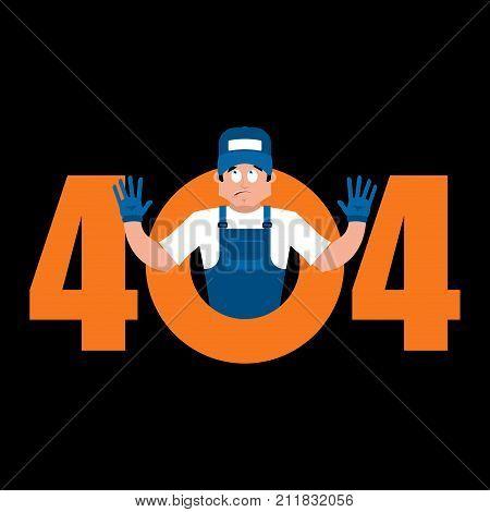 Error 404 Plumber Surprise. Page Not Found Template For Web Site. Fitter Does Not Know And Is Surpri