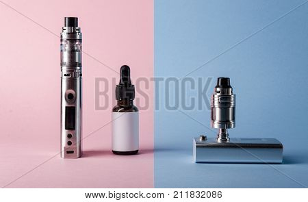 Isolated Modern Electronic Cigarette, E Liquid Bottle And Ohm Readeror E Juice For Vape Devices. Cre