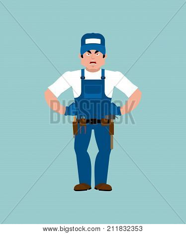 Plumber Angry. Fitter Evil. Service Worker Serviceman Aggressive. Vector Illustration