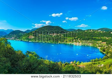 Orta Lake landscape. Orta San Giulio village and Alps mountains view Piedmont Italy Europe.