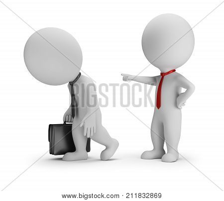 3d small people - the chief fires the subordinate. 3d image. White background.
