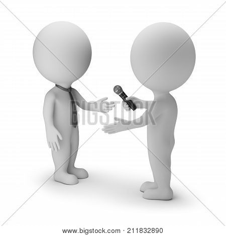 3d small person interviews another. 3d image. White background.