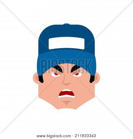 Plumber Angry Emotion Avatar. Fitter Evil Emoji Face. Vector Illustration