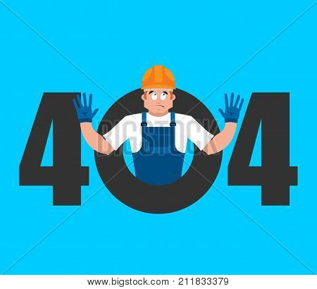 Error 404 Builder Surprise. Page Not Found Template For Web Site. Worker In Protective Helmet Does N