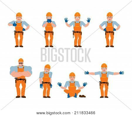 Builder Set Poses And Motion. Worker In Protective Helmet Happy And Yoga. Serviceman Sleeping And An