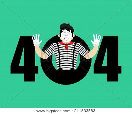Error 404 Mime Surprise. Page Not Found Template For Web Site. Pantomime Does Not Know And Is Surpri