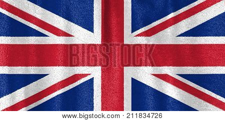 Closeup Of Union Jack Flag, Uk Flag Velvet Fabric, United Kingdom Flag Velvet Fabric.