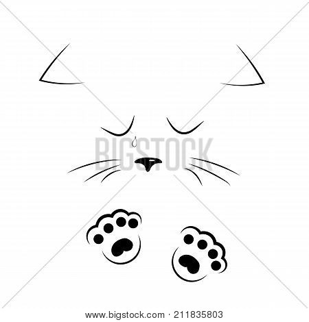 vector black and white outline drawing cute sad cat crying and flowing tears