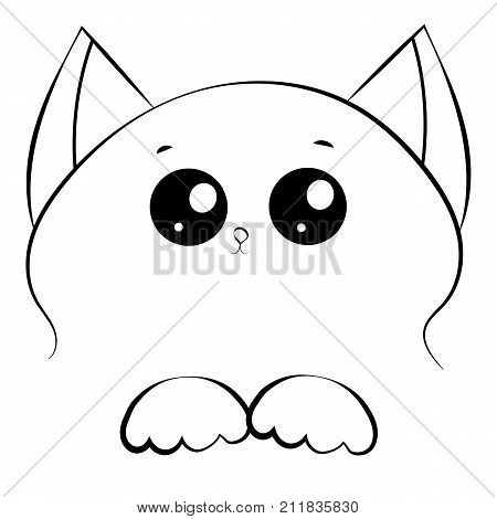 vector black and white outline drawing cute cat face with paws