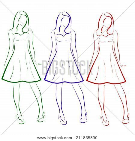 Vector silhouette of colored outline drawing of three girls in dresses , a sketch.