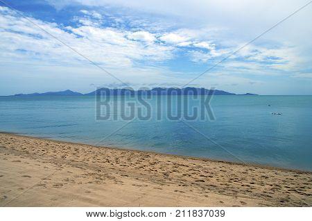 Beautiful And Quiet Sandy Beach Of Koh Samui Island, In Thailand