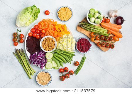 Ingredients For Vegetarian Snack Buddha Bowl