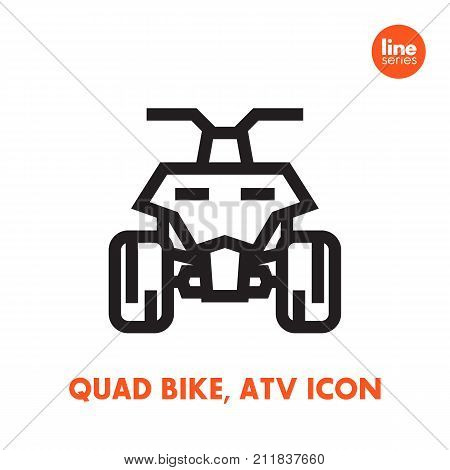 quad bike icon, all terrain vehicle ATV, quadricycle on white, linear style