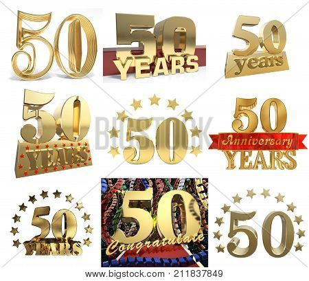 Set of number fifty years (50 years) celebration design. Anniversary golden number template elements for your birthday party. 3D illustration