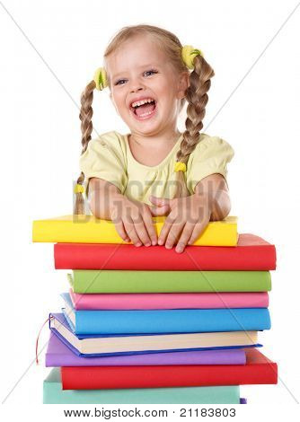 Little girl holding pile of books. Isolated.