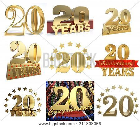 Set of number twenty years (20 years) celebration design. Anniversary golden number template elements for your birthday party. 3D illustration