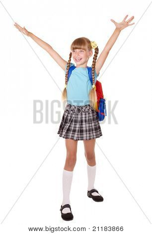 School girl with backpack hand up. Isolated.