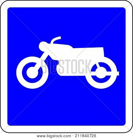 Motorcycle allowed blue road sign on white background