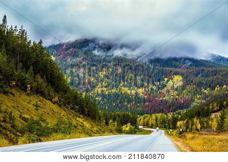 The grandiose nature of the Rockies of Canada. The magnificent road 93