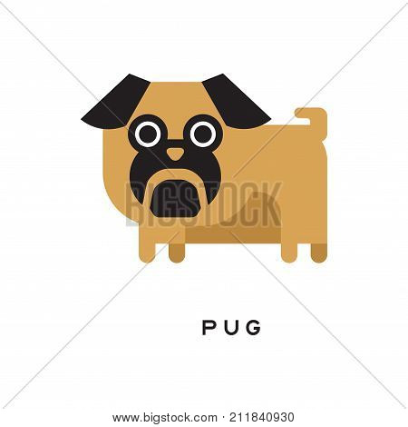 Cartoon brown pug puppy character isolated on white. Small toy doggie with short-muzzled face, curled tail and compact square body. Human s best friend. Decorative dog breed. Flat vector illustration.