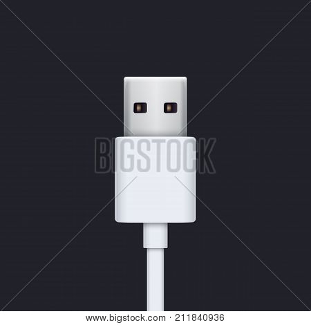 usb plug with white cable vector illustration